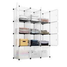 12-Cube Wardrobe Storage Shelf Cube Shelving Closet Toy Organizer Cabinet White
