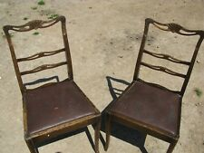 Set Of 2 Antique Edwardian Solid Mahogany Wooden Chairs For Restoration Job Lot