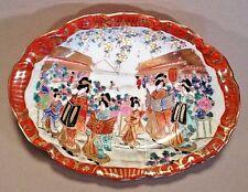 Kutani Nippon Hand Painted Oval Bowl - Geisha Market Scene With Gilding - Japan