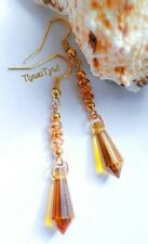 Amber Crystal Dangle Earrings...Gold Plated
