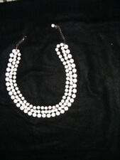 Layer Beaded Necklace Signed Vintage Liz Claiborne White 3