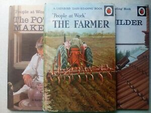 Ladybird 3 books from People at Work Series The Farmer,The Pottery,The Builder