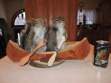 Taxidermy Squirrels Canoe Chipmunk Mount Novelty Whitetail Deer Log Cabin Decor