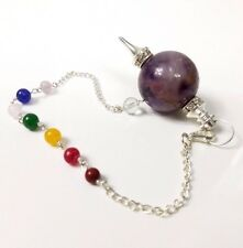 Amethyst Ball Pendulum with Color Chain 7 Chakra Healing Dowsing Divination