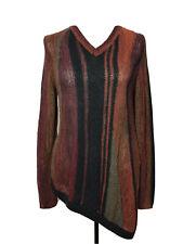 Soft Surroundings Sweater Petite Medium Burgundy Black Striped Longsleeve V-Neck