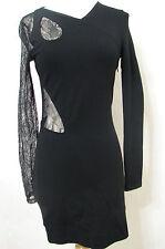 bf44b58cac0 VERSUS VERSACE Bodycon Dress Black Bias Lace Cut Out Asymmetrical NWOT 6 42