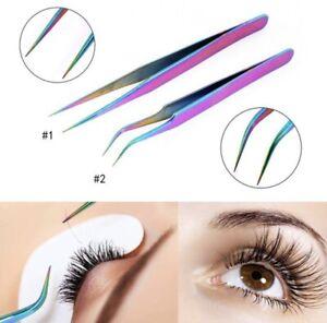 Individual Professional Beauty Eyebrow Eyelash Extension Tweezers in Rainbow