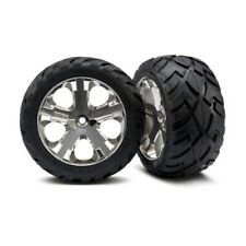 Traxxas 3773 Mirror-Chrome All-Star Wheels/Anaconda Tires (2) Rear: Rustler VXL