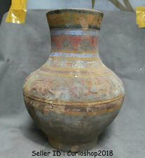 """14"""" Old Chinese Han Painting Pottery Dynasty Dragon Beast Ears Bottle Vase Jar"""