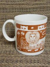 1978 Taylor NG Coffee Mug Tea Cup ~ Jungle Lion Leopard Cat Mice ~ Orange ~ RARE
