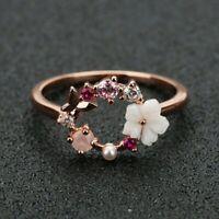 Butterfly Flowers Crystal Finger Wedding Rings Women Rose Gold Zircon Jewellery