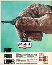 PUBLICITE ADVERTISING 095  1961  MOBIL   huile automobile pour hiver