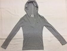 Lacoste Women's Hooded Popover In Light Gray With Snap Front Sz 36 (S) EUC