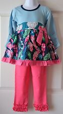 Blue Feather Tunic & Pink Ruffle Leggings Size 4 4T Girl's Spring Outfit Gift