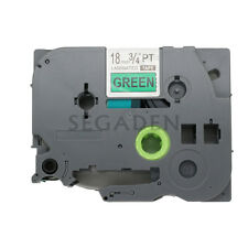 2Pack Black on Green Label Tape Compatible for Brother P-Touch TZ TZe 741 18mm