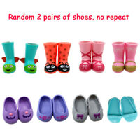 Random 2 Pairs Wellie Wishers Doll Accessory Fit For 14.5'' American Girl Shoes