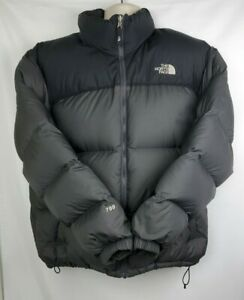 North Face 700 Goose Down BLK/GRY Puffer Jacket Mens Winter Coat Size L Nuptse