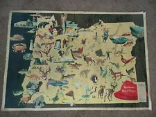 Vintage 1965 Blitz Weinhard Beer Oregon Sportman Map Poster Sign Fishing Hunting