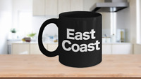 East Coast Mug Black Coffee Cup Funny Gift for New York Girl Philly Proud North