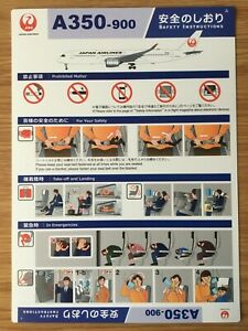 SAFETY CARD Japan Airlines JAL Airbus A350-900 Version A NEW!