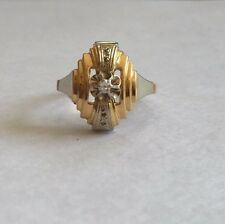 Antiguo 18k Oro y Platino Diamante Anillo Art Deco