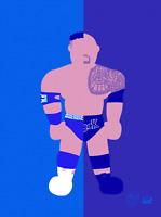 The Rock X Rocky Maivia Wrestling Alter Ego Art Series Glossy Print 8x10 WWF WCW
