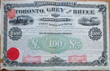 1884 Railroad Bond Certificate: 'Toronto, Grey & Bruce Railway Co.' - Canada