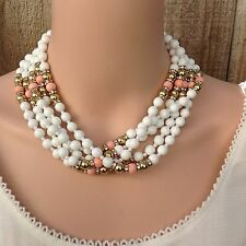 Vintage Pastel White Milk Glass Pink Coral Lucite Beaded Multi Strand Necklace
