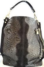 Italy XXL Shopper Tasche Beuteltasche aus Leder SCHWARZ Alligator Kroko Prägung