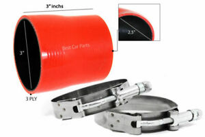 """RED Silicone Reducer Coupler Hose 3""""-2.5"""" 76 mm-63 mm + T-Bolt Clamps FD"""