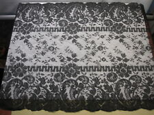 "Victorian 1890's Black Lace Shawl Mantilla 108"" x 35"" Mourning"