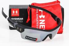 NEW UNDER ARMOUR MENACE SUNGLASSES Satin Black / Game Day lens UA Youth/Kids Fit