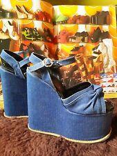 "Vintage 70's Glam Disco Funk Strappy DENIM 6"" Wedged Platform Shoes.BSV London.4"