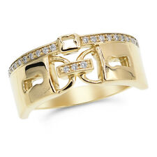 Lock Key Keyhole Right Hand Ring Wide 14K Yellow Gold Pave Diamond Cocktail