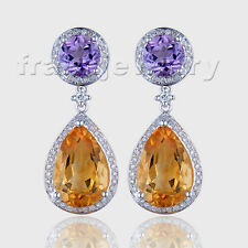 Vintage 14kt White Gold Natural Diamond Citrine Amethyst Women Stick Earrings