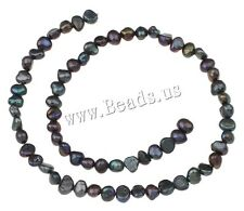 Natural Freshwater Pearl Jewelry Making Loose Gemstone Dark Purple Beads 5-6mm