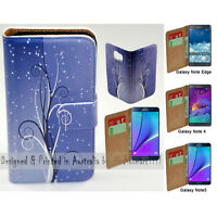 For Samsung Galaxy Note Series Blue Swirl Print Wallet Mobile Phone Case Cover