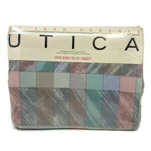 🔴 Vintage JP Stevens Utica Pastel King Flat Sheet Non Iron Chromatics Percale