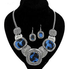 Women Geometric Shape Necklace and Earrings Vintage Jewelry Set New Arrival