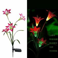 Waterproof Solar Powered 4LED Light Red Lily Flower Garden Lawn Lamp Yard Decor