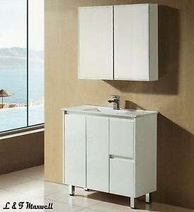 Slim Bathroom Vanity with Finger Pull Soft Close Door and Ceramic Basin 900mm