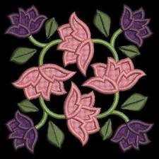 Baltimore Applique Floral Quilt Blocks Machine Embroidery Designs 4x4 CD Brother