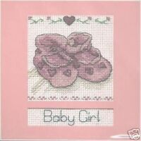 "Baby Girl Cross Stitch Card Kit - DMC - 14 Count - 6"" x 6"""