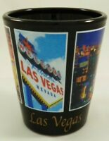 LAS VEGAS NEVADA BLACK 5 WINDOW SHOT GLASS SHOTGLASS