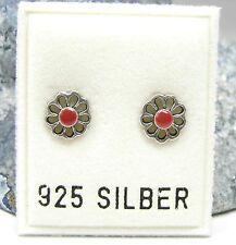 NEU 925 Silber OHRSTECKER BLÜTEN in rot OHRRINGE Earrings BLÜTE Blume BLUMEN