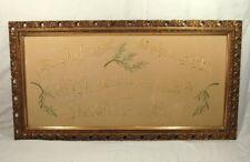 Antiker Prunkrahmen m. Edelweiß-Stickerei hinter Glas - Stuck auf Holz vergoldet