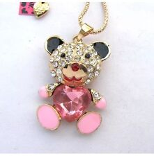 NWT Betsey Johnson Necklace Pink Enamel Teddy Bear 🐻 Crystals Adorable