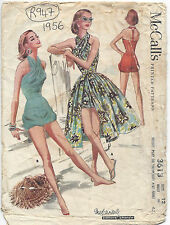 1956 Vintage Sewing Pattern B30 HALTERNECK BATHING SUIT & SKIRT PLAYSUIT (R947)