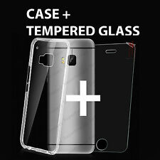Clear Gel Case Skin Silicone Cover & Tempered Glass Screen Protector for Mobiles