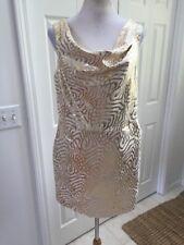 NWT Gap Cream Gold Metallic Printed Dress Drape Neck Cocktail Party 8